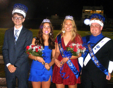Will Fehlinger | The Herald-Tribune The 2019 Batesville High School Homecoming prince and princess, juniors Dillon Murray and Olive Cerniglia on the left, stand next to the homecoming queen and king, Ellie Cassidy and Alex Roth, during halftime of Friday's football game.