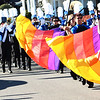 Christopher Aune | The Herald-Tribune<br /> The Batesville High School Marching Band is led by the color guard. Musicians performed three times on Friday, at the afternoon pep rally, parade and game.