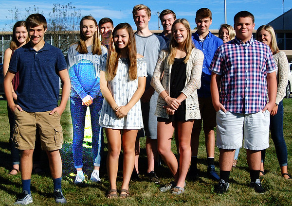 Debbie Blank | The Herald-Tribune<br /> Batesville High School homecoming candidates are (front row from left) freshmen Jacob Weigel, Malia Scheele, Katie Bedel and Karson Macke; (middle row) sophomores Madison Chambers, Jacob Nobbe, Christian Anderson and Halle Renck; (back row) juniors Bea Amberger, Michael Ripperger, Trey Heidlage and Sophie Brown.