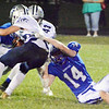 Will Fehlinger | The Herald-Tribune<br /> Batesville's Tyler Myers yanks down Franklin County's Mitchell Orschell in action from homecoming Oct. 6. Batesville won 29-22.