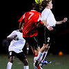 Boulder Panther's Jack Huettel (20) and Fairview Knight's Soren Frykholm (7) go up for a header during their game at Recht Field in Boulder Thursday, Sept. 24, 2009.<br /> <br />  DAILY CAMERA/ Kasia Broussalian