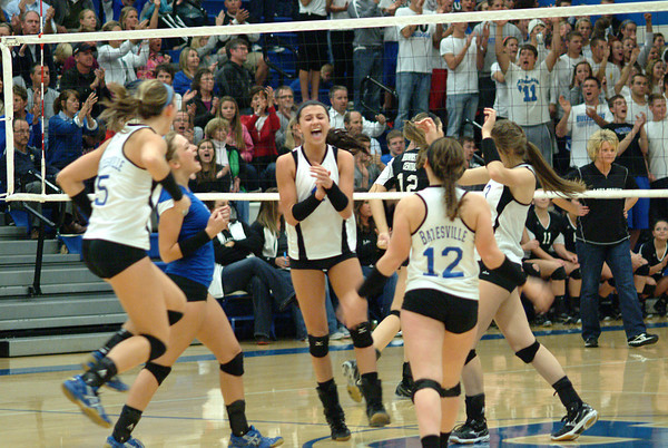 How emotions can change. The Lady Bulldogs celebrated winning a point to take a four point lead in the fifth set.