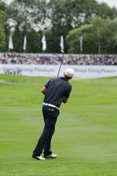 Marcel Siem loosing his ball to the left at the 18th hole.