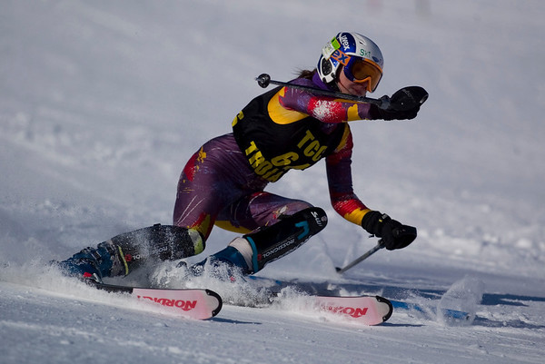 Record-Eagle/Jan-Michael Stump<br /> Traverse City Central's Mallory Weaver takes her first slalom run in the Titan Invite Thursday at Crystal Mountain.