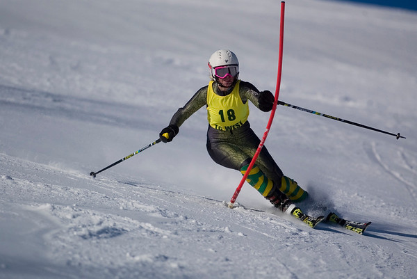 Record-Eagle/Jan-Michael Stump<br /> Traverse City West's Nicole Schroeder takes her first slalom run in the Titan Invite Thursday at Crystal Mountain.
