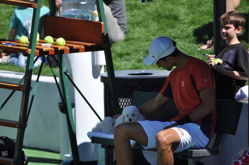 Novak Djokovic and his dog