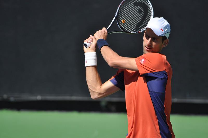 Novak Djokovic on the practice court at La Quinta Resort