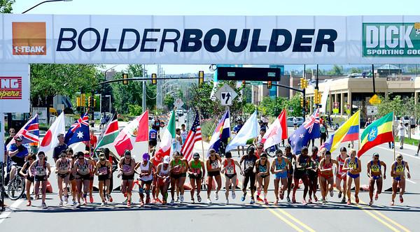 Women's International Team Challenge start during the 2012 Bolder Boulder in Boulder, Colorado May 28, 2012. CAMERA/MARK LEFFINGWELL