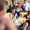 "Tyler Byers holds his 11-month-old son Truman after crossing the finish line inside Folsom Field on the University of Colorado campus on Monday, May 28, during the Bolder Boulder race in Boulder, Colo. For more photos of the race go to  <a href=""http://www.dailycamera.com"">http://www.dailycamera.com</a><br /> Jeremy Papasso/ Camera"
