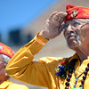 "World War II veterans and Navajo Code Talkers Bill Toledo, left, and Albert Smith salute the crowd after being honored at the finish line of the Bolder Boulder inside Folsom Field during the Memorial Day tribute on Monday, May 28. For more photos of the race go to  <a href=""http://www.dailycamera.com"">http://www.dailycamera.com</a><br /> Jeremy Papasso/ Camera"