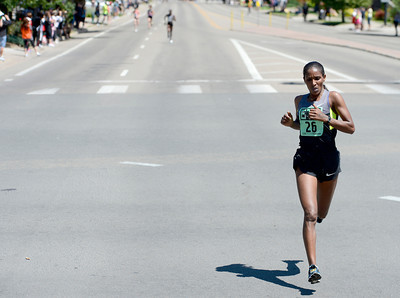 Ethiopia's Mamitu Daska finishes the Women's International Team Challenge with a big lead during the 2012 Bolder Boulder in Boulder, Colorado May 28, 2012. CAMERA/MARK LEFFINGWELL