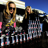 0528BBML1.jpg Scout Hill (left), 15, and Skylar George (right), 16, scream as their stack of cups fall while setting up a water station at 13th and Alpine before the 2012 Bolder Boulder in Boulder, Colorado May 11, 2012. CAMERA/ MARK Leffingwell