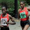 Kenya's Lineth Chepkurui (left) lead Ethiopia's Mamitu Daska during the Bolder Boulder in Boulder, Colorado May 30, 2011.  CAMERA/Mark Leffingwell