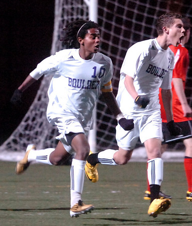 Boulder's #10 Brook Assefa, celebrates his goal with #7 Will Maxwell in their game against Fairview at Recht Field Boulder on November 2, 2010. <br /> Paul Aiken / The Camera
