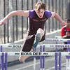 Mackenzie Felkley of Boulder High School heads to the finish line in the 100 Meter Hurdles during their track meet against Fairview High at Recht Field on the Boulder High School Campus on Wednesday March 16, 2011<br /> Photo by Paul Aiken / The Camera