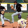 Monarch's #1 Ignacio Branger jumps away from second base as #7 Blake Partridge is forced out to end Boulder's 3rd inning with the bases loaded during the game of Boulder High School against Monarch High School at Scott Carpenter Park  on Tuesday, May 3, 2010.<br /> Paul Aiken / The Camera