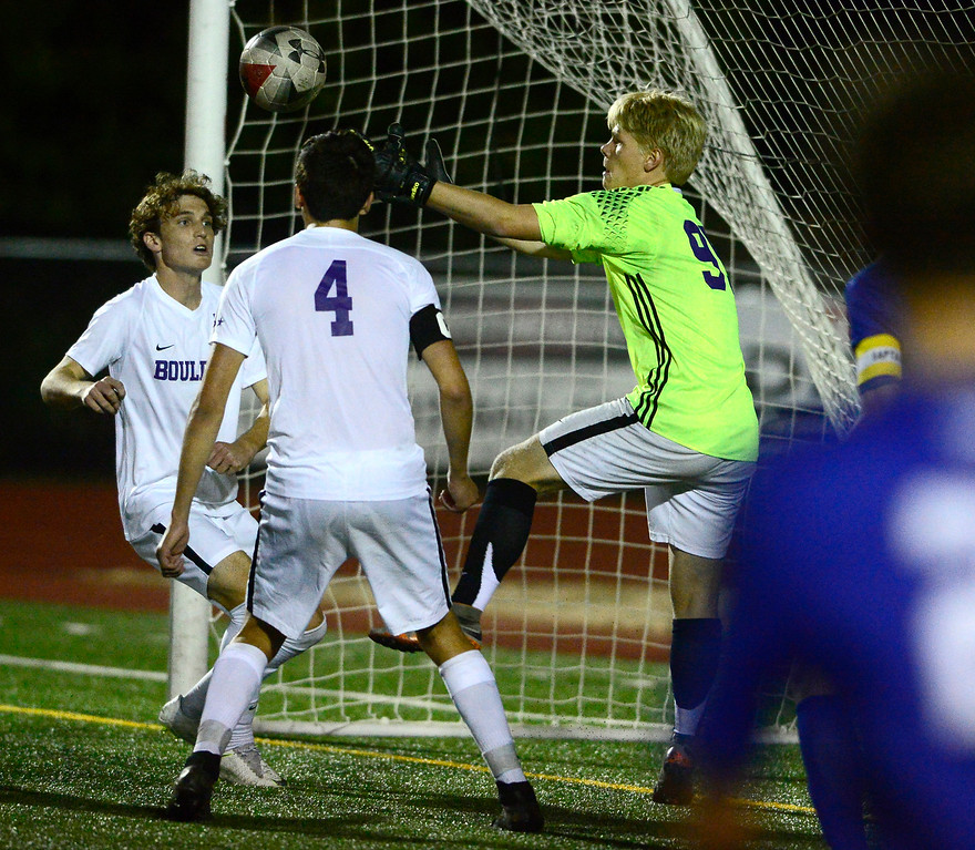 . BROOMFIELD, CO - SEPTEMBER 17 2018 Boulder High\'s Goalkeeper Toby Bateman snags a loose ball out from in front of the net during their game against Broomfield High in Broomfield on Monday September 17, 2018. More photos Bocopreps.com  (Photo by Paul Aiken/Staff Photographer)