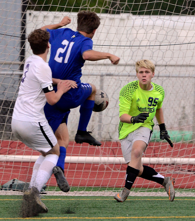 . BROOMFIELD, CO - SEPTEMBER 17 2018 Boulder High\'s Goalkeeper Toby Bateman tracks down a shot by  Broomfield High\'s Sean O\'Brien during their soccer game in Broomfield on Monday September 17, 2018. More photos Bocopreps.com  (Photo by Paul Aiken/Staff Photographer)