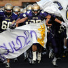 "Boulder's Sam Hager, 60 and Abel Brown, 20, enter the field during their game against Loveland High at Recht Field at Boulder High School on Friday September 9, 2011. <br /> FOR MORE PHOTOS FROM THE GAME GO TO  <a href=""http://WWW.DAILYCAMERA.COM"">http://WWW.DAILYCAMERA.COM</a><br /> Photo by Paul Aiken / The Camera / September 9 2011"