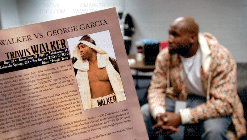 Photo by Mark Trockman<br /> <br /> Travis Walker in his dressing room before the fight.