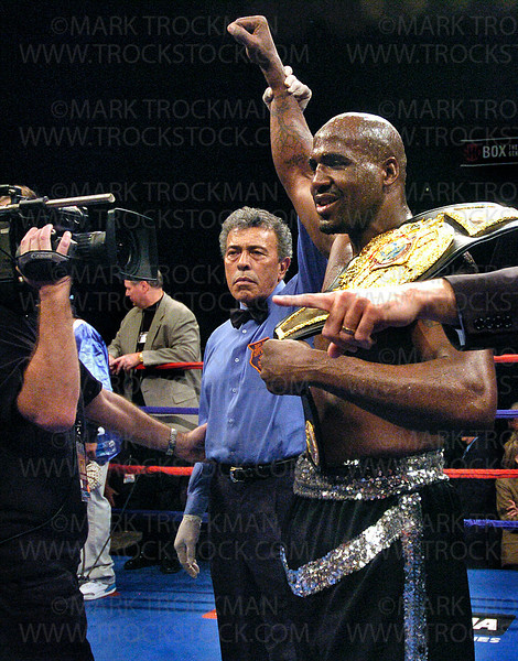 Photo by Mark Trockman<br /> <br /> IBA heavyweight champion Travis Walker gets his armed raised by the referee following Walker's split-decision win over George Garcia in 10 rounds at Target Center in Minneapolis Friday night.