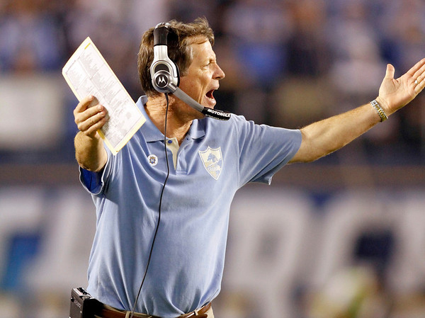 San Diego Chargers coach Norv Turner argues a call during the second quarter of an NFL football game against the Denver Broncos on Monday, Oct. 19, 2009 in San Diego. (AP Photo/Denis Poroy)