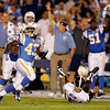 San Diego Chargers punt returner Darren Sproles races pass Denver Broncos punter Brett Kern on his way to a 77-yard touchdown during the second quarter of the NFL football game Monday, Oct. 19, 2009 in San Diego. (AP Photo/Chris Park)
