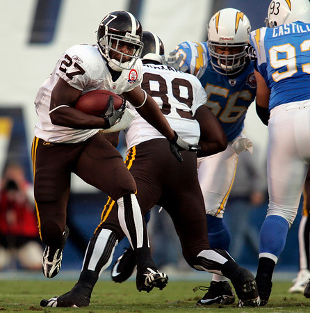 Denver Broncos running back Knowshon Moreno runs through the San Diego Chargers defense, gaining five-yards  during the first quarter of an NFL football game Monday, Oct. 19, 2009 in San Diego. (AP Photo/Chris Park)