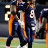 Denver Broncos quarterback Kyle Orton (8) and Ryan Clady (78) react as they leave the field during the second half of an NFL football game against the St. Louis Rams, Sunday, Nov. 28, 2010, in Denver. Denver lost to St. Louis 36-33. (AP Photo/Chris Schneider)