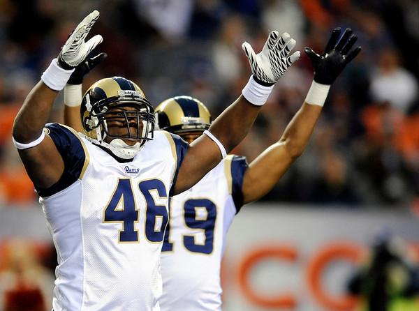 St. Louis Rams tight end Daniel Fells (46) celebrates during the second half of an NFL football game against the Denver Broncos, Sunday, Nov. 28, 2010, in Denver. St. Louis defeated Denver 36-33. (AP Photo/Chris Schneider)