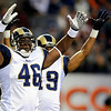 St. Louis Rams tight end Daniel Fells (46) celebrates during the second half of an NFL football game against the Denver Broncos, Sunday, Nov. 28, 2010, in Denver. St. Louis defeated Denver 36-33. (AP Photo/Chris Schneider)