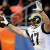 St. Louis Rams tight end Billy Bajema (47) celebrates a touchdown-pass against the Denver Broncos during the second quarter of an NFL football game Sunday, Nov. 28, 2010, in Denver. (AP Photo/Chris Schneider)