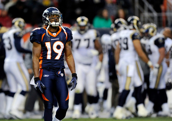 Denver Broncos wide receiver Eddie Royal leaves the field against the St. Louis Rams during the second half of an NFL football game Sunday, Nov. 28, 2010, in Denver. (AP Photo/Chris Schneider)