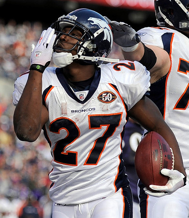Denver Broncos running back Knowshon Moreno blows a kiss to the crowd after scoring a touchdown during an NFL football game against the Baltimore Ravens, Sunday, Nov. 1, 2009, in Baltimore. (AP Photo/Nick Wass)