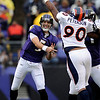 Denver Broncos defensive end Kenny Peterson, right, stretches to block Baltimore Ravens quarterback Joe Flacco's pass during the first quarter of an NFL football game, Sunday, Nov. 1, 2009, in Baltimore. (AP Photo/Nick Wass)