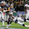New England Patriots tight end Rob Gronkowski (87) scores a touchdown dragging Denver Broncos defensive back Rafael Bush (36) into the end zone during the second quarter. Denver Broncos vs New England Patriots AFC Division Playoff game.  Saturday January 14, 2012 at Gillette Stadium.  AAron  Ontiveroz, The Denver Post