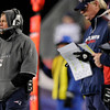 New England Patriots head coach Bill Belichick on the side lines in the first quarter. Denver Broncos vs New England Patriots AFC Division Playoff game.  Saturday January 14, 2012 at Gillette Stadium.  AAron  Ontiveroz, The Denver Post