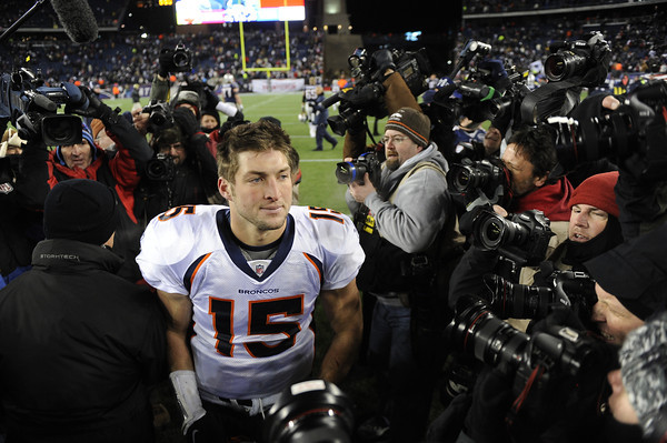 Denver Broncos quarterback Tim Tebow (15) after losing to the New England Patriots 45-10. Denver Broncos vs New England Patriots AFC Division Playoff game.  Saturday January 14, 2012 at Gillette Stadium.  Hyoung Chang, The Denver Post