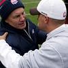 New England Patriots coach Bill Belichick, left, and Denver Broncos coach Josh McDaniels meet before an NFL football game in Denver, Sunday, Oct. 11, 2009. (AP Photo/Jack Dempsey)