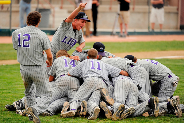 Mountain View players celebrates winning of the game against Broomfield at All City Stadium on Saturday. Mountain View won 4A championship game against Broomfield by 1-0 in 2nd extra inning. Hyoung Chang/ The Denver Post
