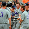Mountain View's Keeton Krause, center and the teammates celebrate the Krause's winning point in the 9th inning against Broomfield at All City Stadium on Saturday. Mountain View won 4A championship game against Broomfield by 1-0 in 2nd extra inning. Hyoung Chang/ The Denver Post
