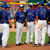 Broomfield's head coach Brian Smela, 3rd from left, and the players huddle in the top of 9th during the game against Mountain View at All City Stadium on Saturday. Mountain View won 4A championship game against Broomfield by 1-0 in 2nd extra inning. Hyoung Chang/ The Denver Post