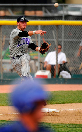 Mountain View's Derek Neeper, top, is in action during the game against Broomfield at All City Stadium on Saturday. Mountain View won 4A championship game against Broomfield by 1-0 in 2nd extra inning. Hyoung Chang/ The Denver Post