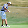 "Bridger Ryan follows his putt during a team qualifying round at the Eagle Trace Golf Club in Broomfield Colorado on Monday August 6. 2012.  For more photos go to  <a href=""http://www.bocopreps.com"">http://www.bocopreps.com</a>.<br /> Photo by Paul Aiken / The Daily Camera"