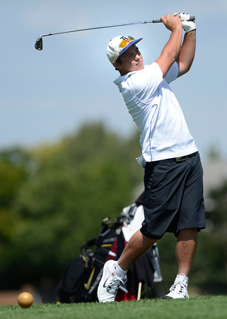 "Pat Lalancette tees off during a team qualifying round at the Eagle Trace Golf Club in Broomfield Colorado on Monday August 6. 2012.  For more photos go to  <a href=""http://www.bocopreps.com"">http://www.bocopreps.com</a>.<br /> Photo by Paul Aiken / The Daily Camera"
