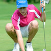"""Alex Gorman lines up a putt during a team qualifying round at the Eagle Trace Golf Club in Broomfield Colorado on Monday August 6. 2012.  For more photos go to  <a href=""""http://www.bocopreps.com"""">http://www.bocopreps.com</a>.<br /> Photo by Paul Aiken / The Daily Camera"""