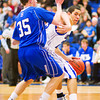 S0208LONGMONT6.jpg S0208LONGMONT6<br /> Broomfield's #35, Brandon Little defends against Longmont's #23, Brian Donaire works his way to the paint during their game at Longmont High School on Tuesday evening February 7th, 2012.<br /> <br /> Photo by: Jonathan Castner