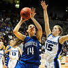 Broomfield High School senior Katie Nehf drives past Longmont's Tambre Haddock during the Colorado High School Athletic Association girls class 4A championship game on Friday, March 11, at the Coors Events Center on the University of Colorado campus in Boulder. Broomfield defeated Longmont 48-38.<br /> Jeremy Papasso/ Camera