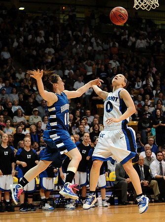 20110311_BKOL_BROOMFIELD_MEIER_WIBER.JPG Longmont's Erica Meier is fouled by Broomfield's Bri Wiber in the Class 4A Championship game at Coors Events Center in Boulder on Friday, March 11, 2011. (Joshua Buck/Times-Call)