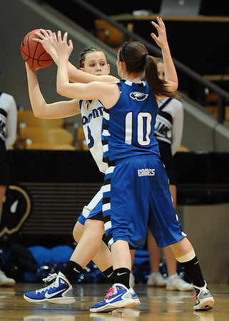 20110311_BKOL_BROOMFIELD_FALLON_WIBER.JPG Longmont's Gabriella Fallon tries to work around the press of Broomfield's Bri Wiber in the Class 4A Championship game at Coors Events Center in Boulder on Friday, March 11, 2011. (Joshua Buck/Times-Call)